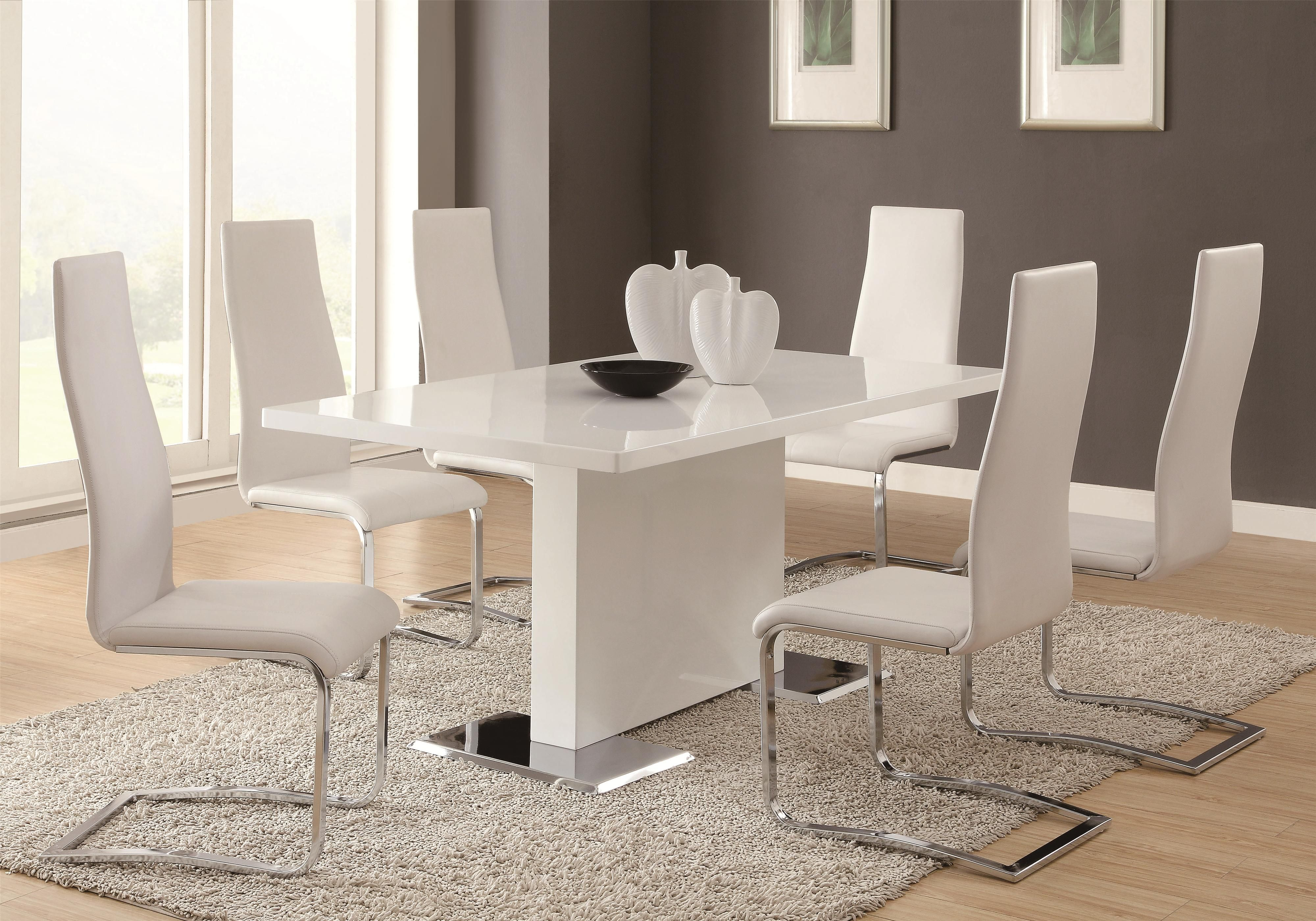 Modern Dining 7 Piece White Table & White Upholstered