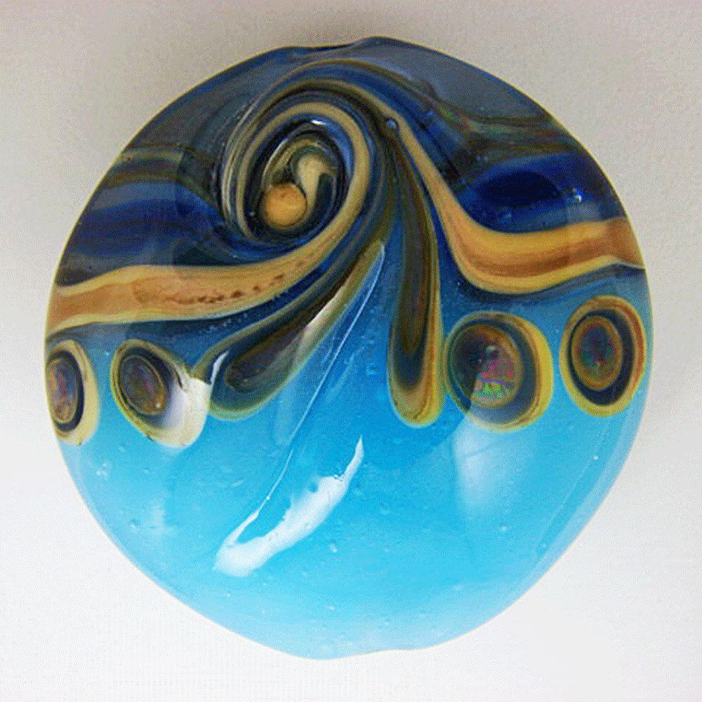 Transparent Blue And Alabaster Turquoise Handmade Lampwork Lentil