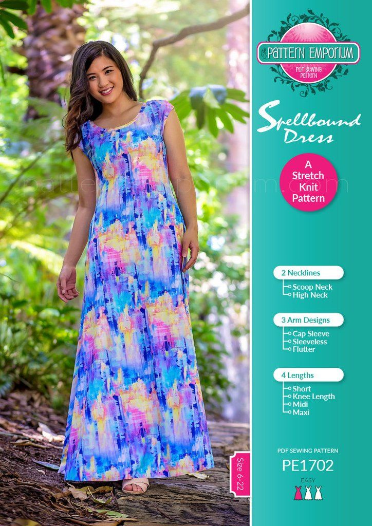 Spellbound Stretch Knit Dress Ladies Pdf Sewing Pattern Sewing