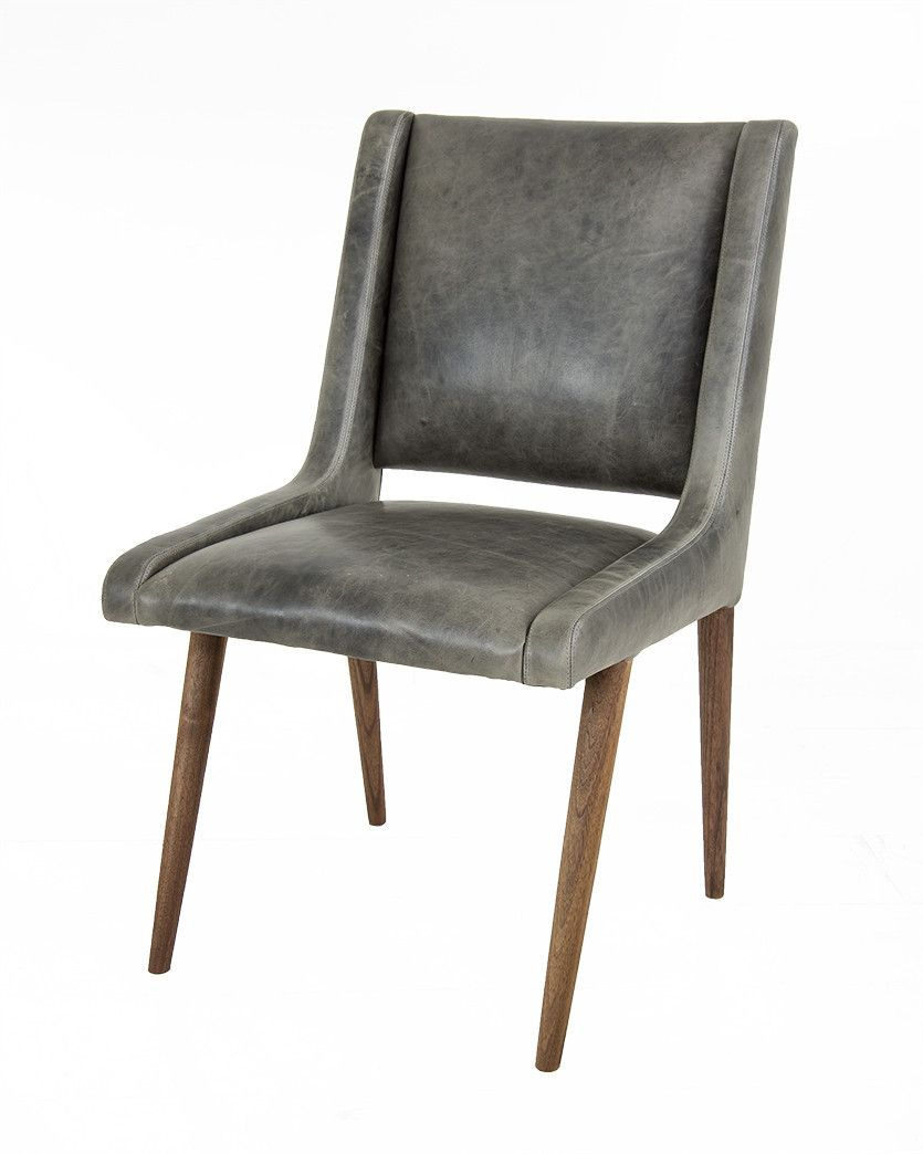 mid century dining chair in distressed grey leather | dining