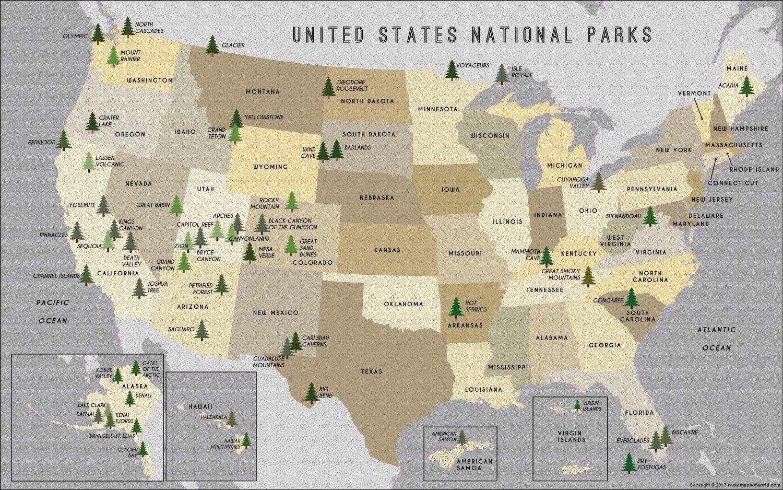 US National Parks Map | Us national parks map, National ...