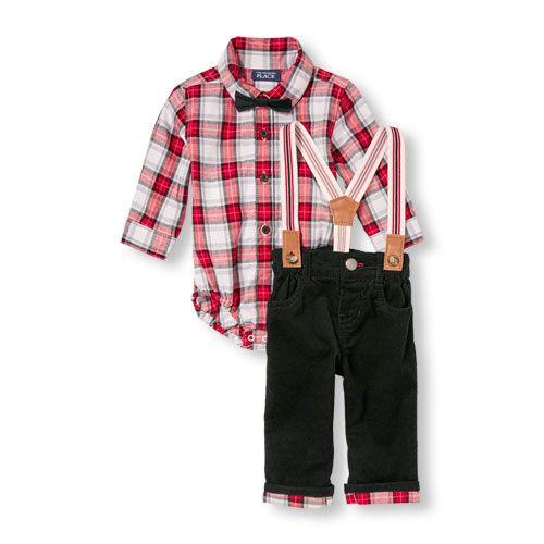 7711877f467 Newborn Baby Boys Long Sleeve Plaid Button-Down Bodysuit