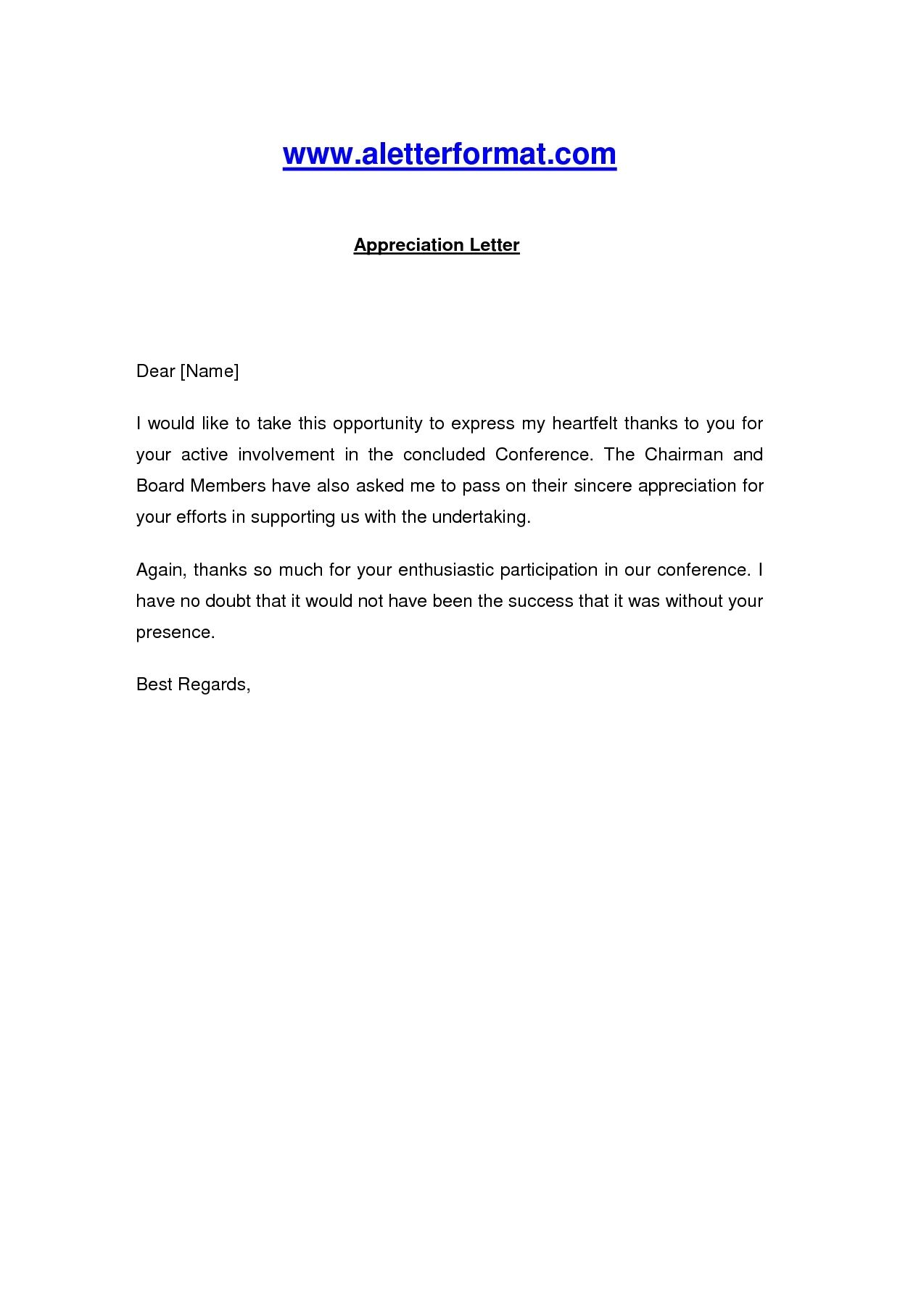 Appreciation Letter Sle Template Learnhowtoloseweight Net News To