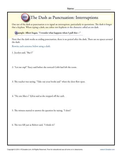 The Dash as Punctuation: Interruptions | K12 | Punctuation ...