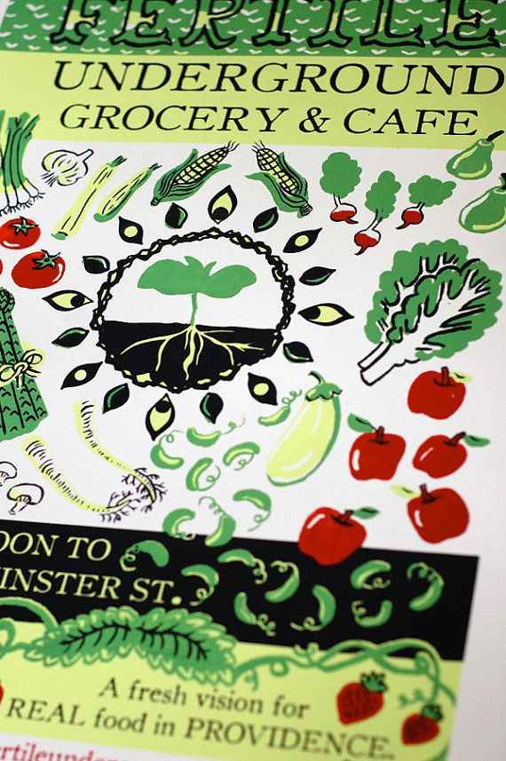 Fertile Undergroud Grocery and Cafe silkscreene poster. Etsy.