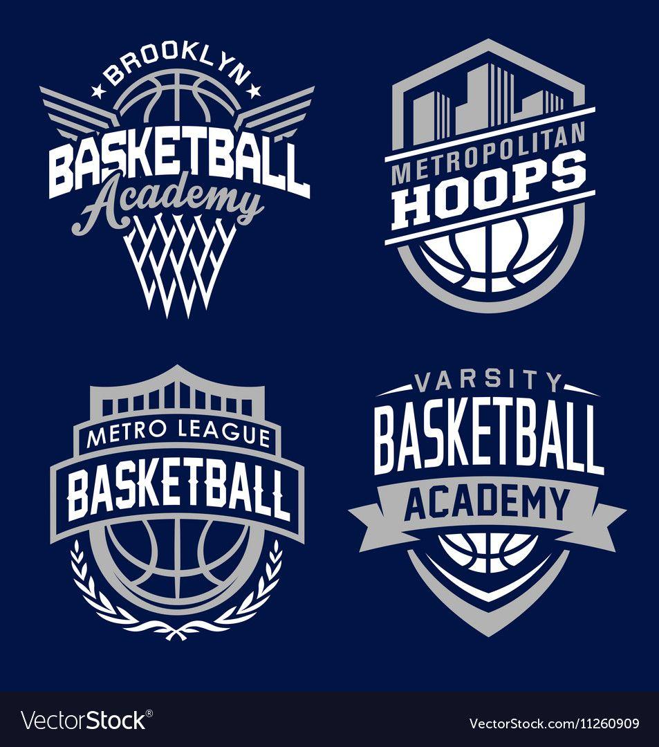 Basketball sport emblem set suitable for modification for