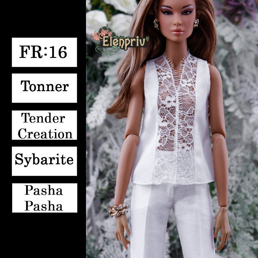 "ELENPRIV ivory mesh sleeveless top for Fashion Royalty FR:16 ITBE 16/"" dolls"