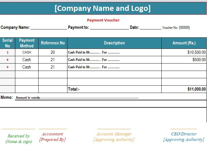 Sample Payment Voucher Template    exceltmp sample-payment - pay in slip format in excel