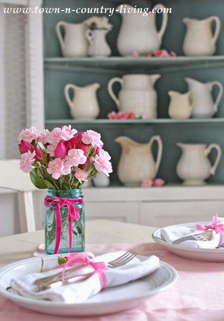 old Mason jar, pink roses, dark pink ribbon