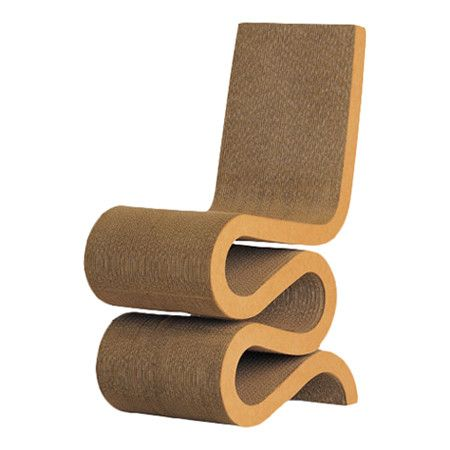 Corrugated Cardboard Chair wave side chair designedfrank gehry, made from corrugated