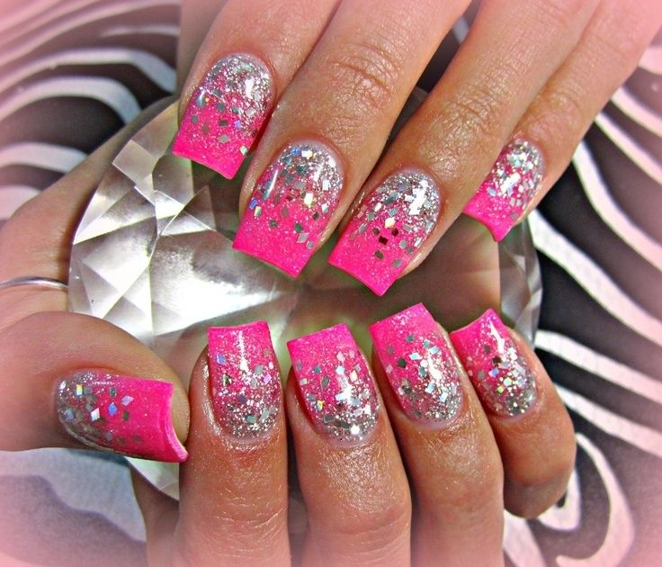 Hot Pink Acrylic Nails Glitter Nail Art Designs Pink Glitter Nails Silver Nails Pink Acrylic Nails