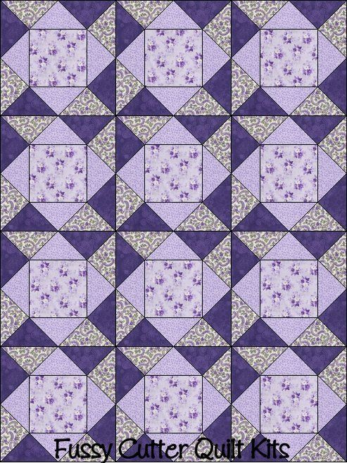 Purple Lavender Roses Flower Floral Fabric Easy Pre-Cut Quilt ... : pre cut quilt blocks - Adamdwight.com
