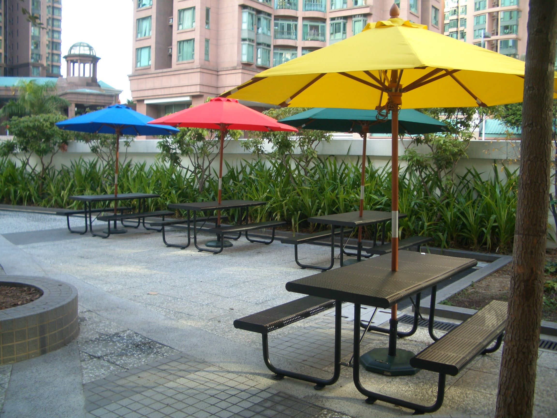 Picnic Table And Benches With Umbrella OUTDOOR PICNIC TABLE - Metal picnic table with umbrella