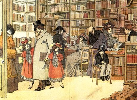 "Bookseller"" from The Book of Shops by E.V. Lucas and illustrated by F.D.  Bedford. Published by Grant Richards in 1899 