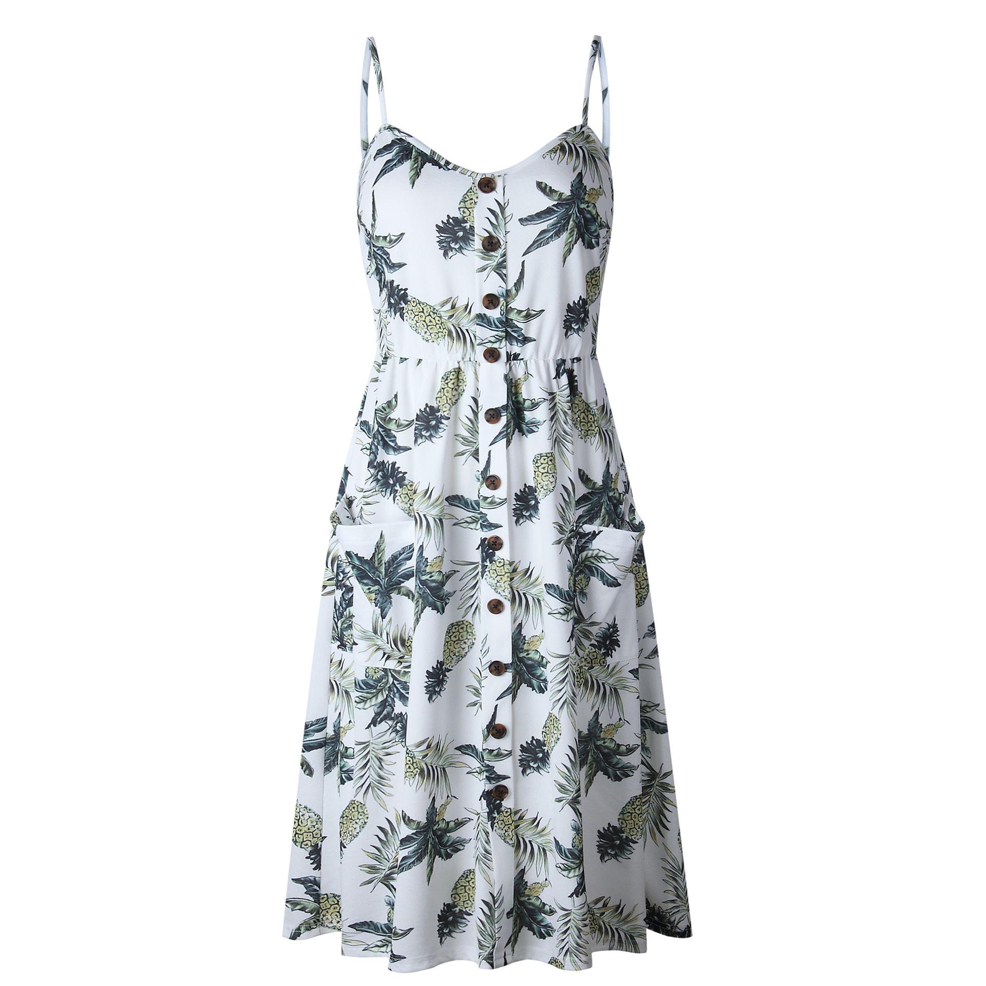 2b2d789b3fec Boho Floral Print Summer Dress Women V Neck Pockets Sleeveless Midi Dresses  Female Sunflower Pleated Backless Button Sexy Dress-in Dresses from Women's  ...