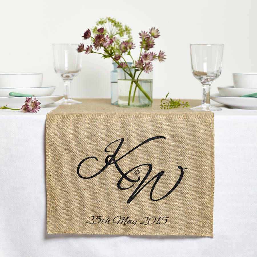 Personalised Monogram Table Runner Head Wedding Decorations Runners Rustic Centerpieces