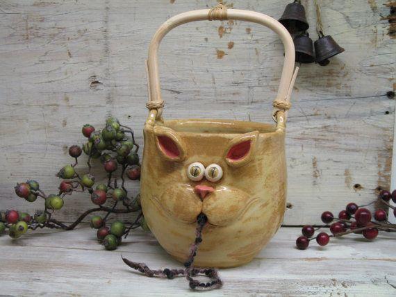 Yarn bowl - Knitting bowl - LARGE yarn Holder with Cute Cat Mouth - handmade ceramic pottery by Heidi