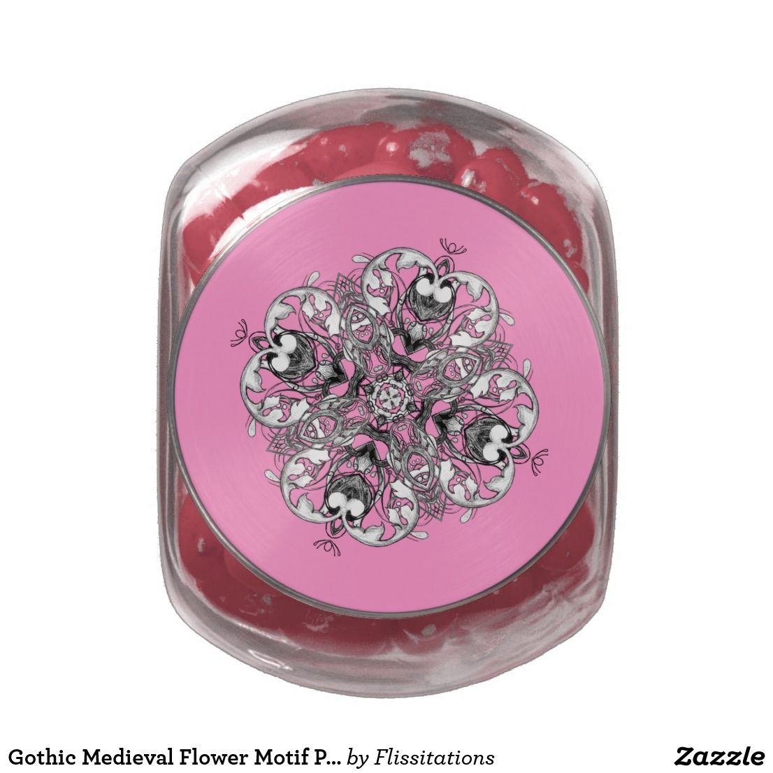 Gothic Medieval Flower Motif Pink Black and White Glass Candy Jar ...