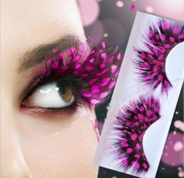Feathered Eyelashes Fake Lashes Fancy Dress Halloween Costume Accessory 5 COLORS