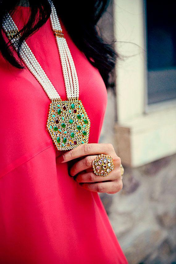Multi Stone Raani Necklace by JawaahirStudio on Etsy     image 3 -find
