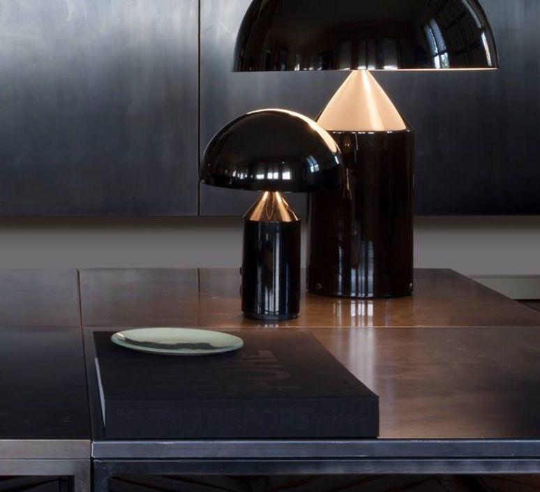 Lampe à poser atollo noir h35cm oluce design tablelamp