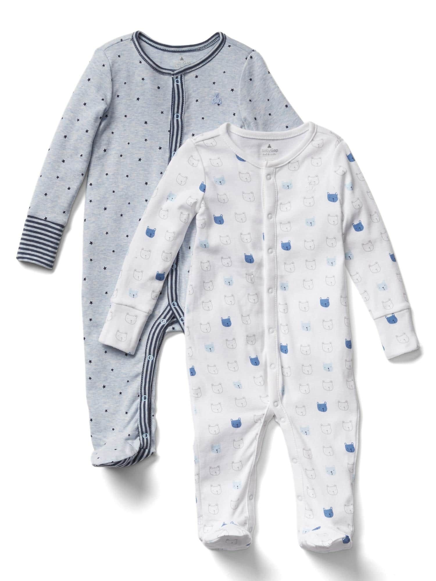 New Baby Gap Baby Boy  Infant Print Footed One Piece 2 Pack Size 3-6 Months