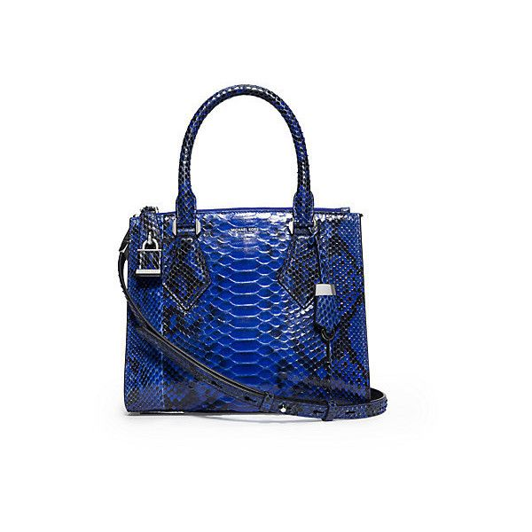 Michael Kors Casey Small Python Satchel Blue 2 097 Liked On Polyvore Featuring