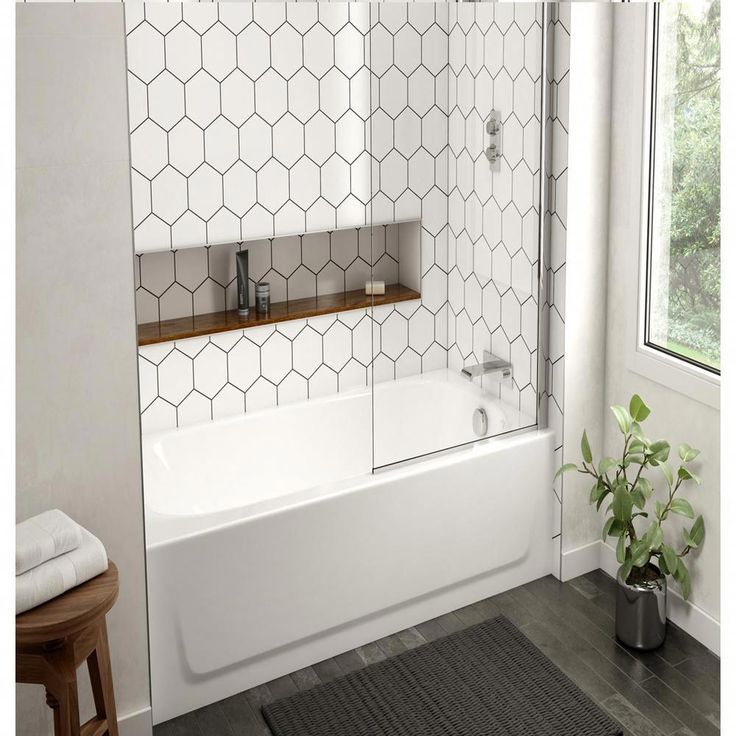 Bootz Industries Honolulu 46.5 in. Left Drain Rectangular Alcove Soaking Bathtub in White-011-3379-00 - The Home Depot