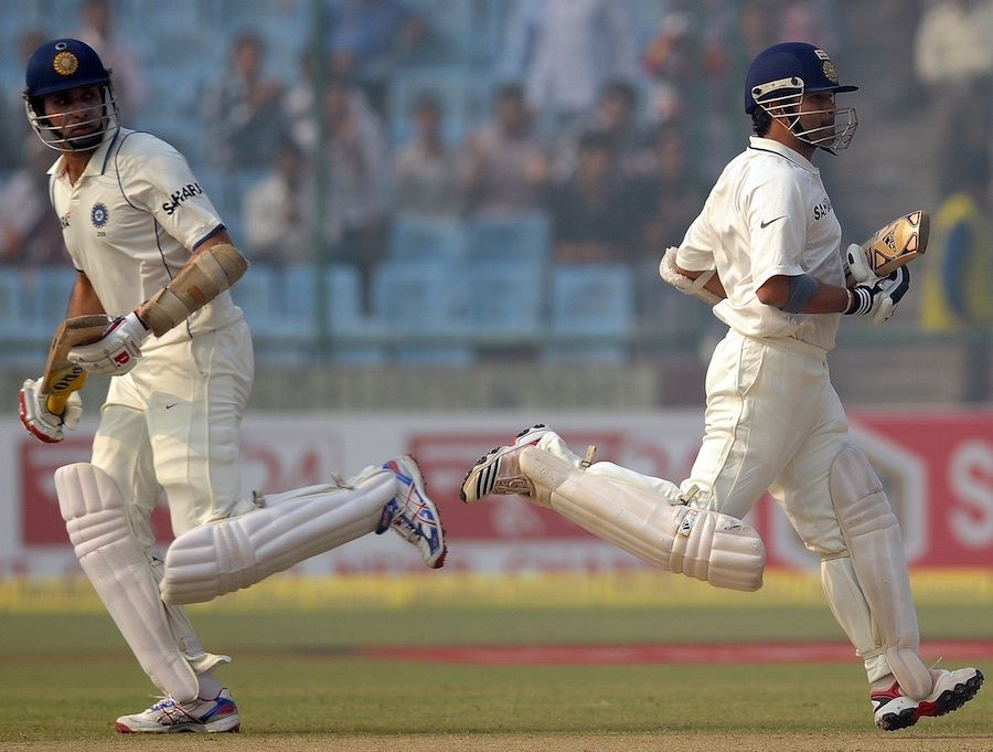 VVS Laxman and Sachin Tendulkar added 71 for the fourth wicket, India v West Indies, 1st Test, New Delhi, 4th day, November 9, 2011 200th.in