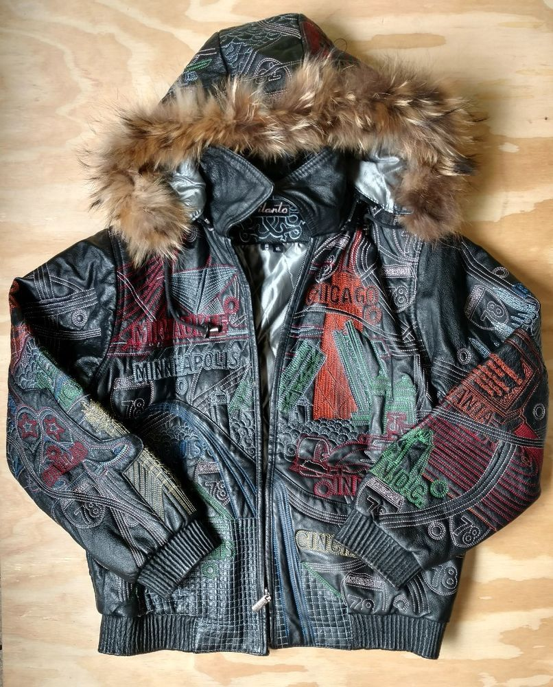 Vilanto Men S Leather Jacket Bomber Fur Hood Embroidered Us Cities Sz Xl Read Mens Leather Bomber Jacket Leather Bomber Jacket Men S Leather Jacket [ 1000 x 806 Pixel ]