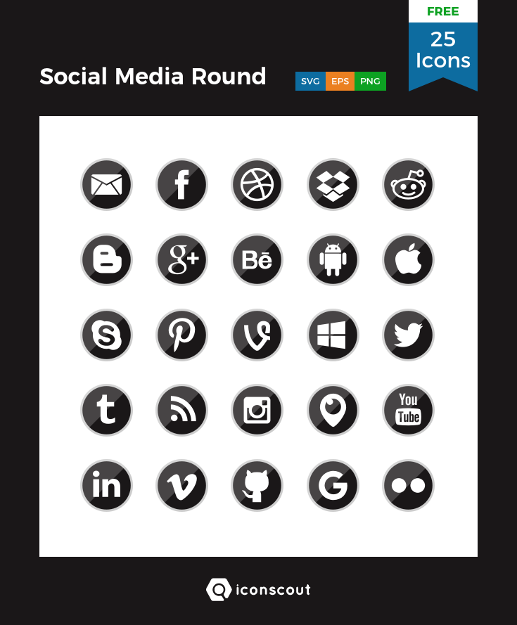 Download Download Social Media Round Icon pack - Available in SVG ...
