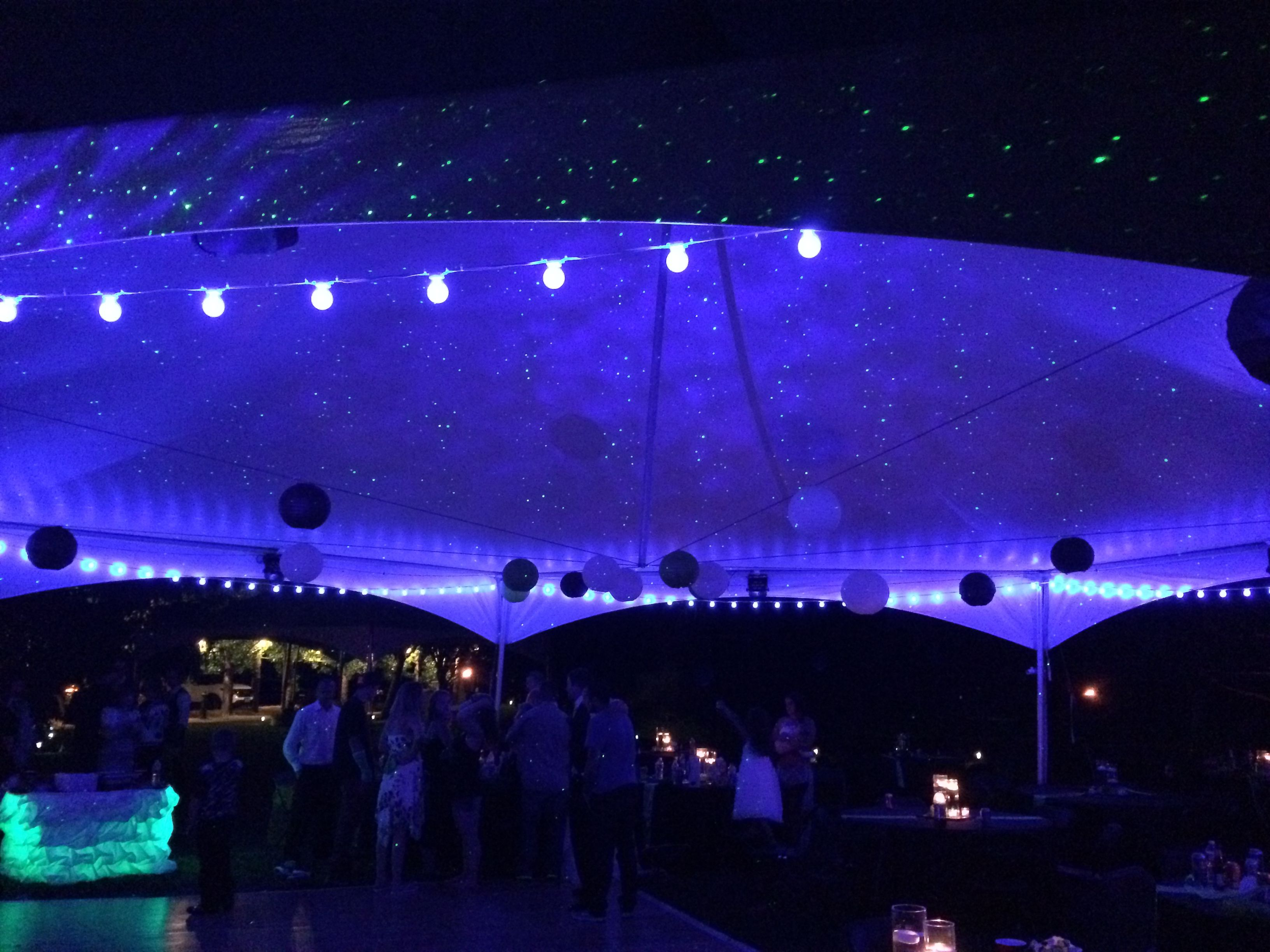 bistro lighting with the starry night effect in the hexagon canopy