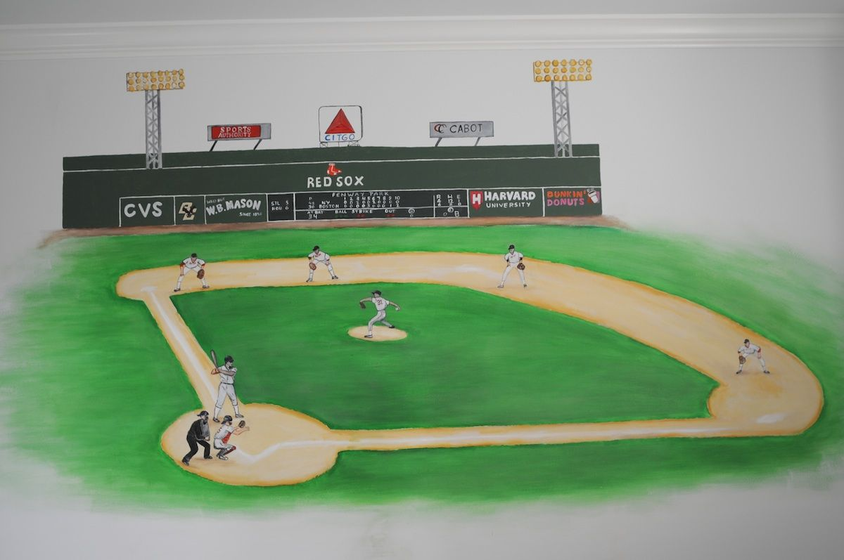 Baseball Mural Boston Fenway Park With Red Sox In Action Perfect For A Boys Room Also Available On Self Adhesive Stick And L Fabric