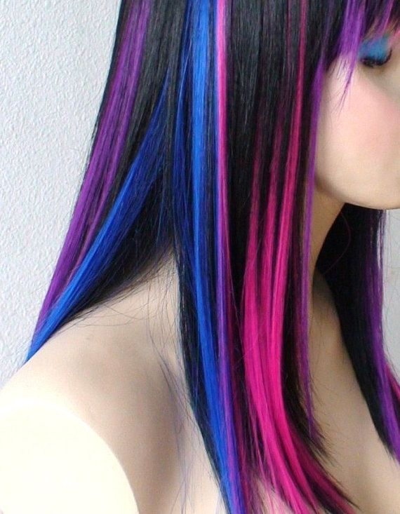 Black Pink Purple Blue Wig Straight Black Hair With Color Under Wig Durable Heat Resistant Synthetic Wig For Daily U Hair Styles Ombre Hair Color Ombre Hair