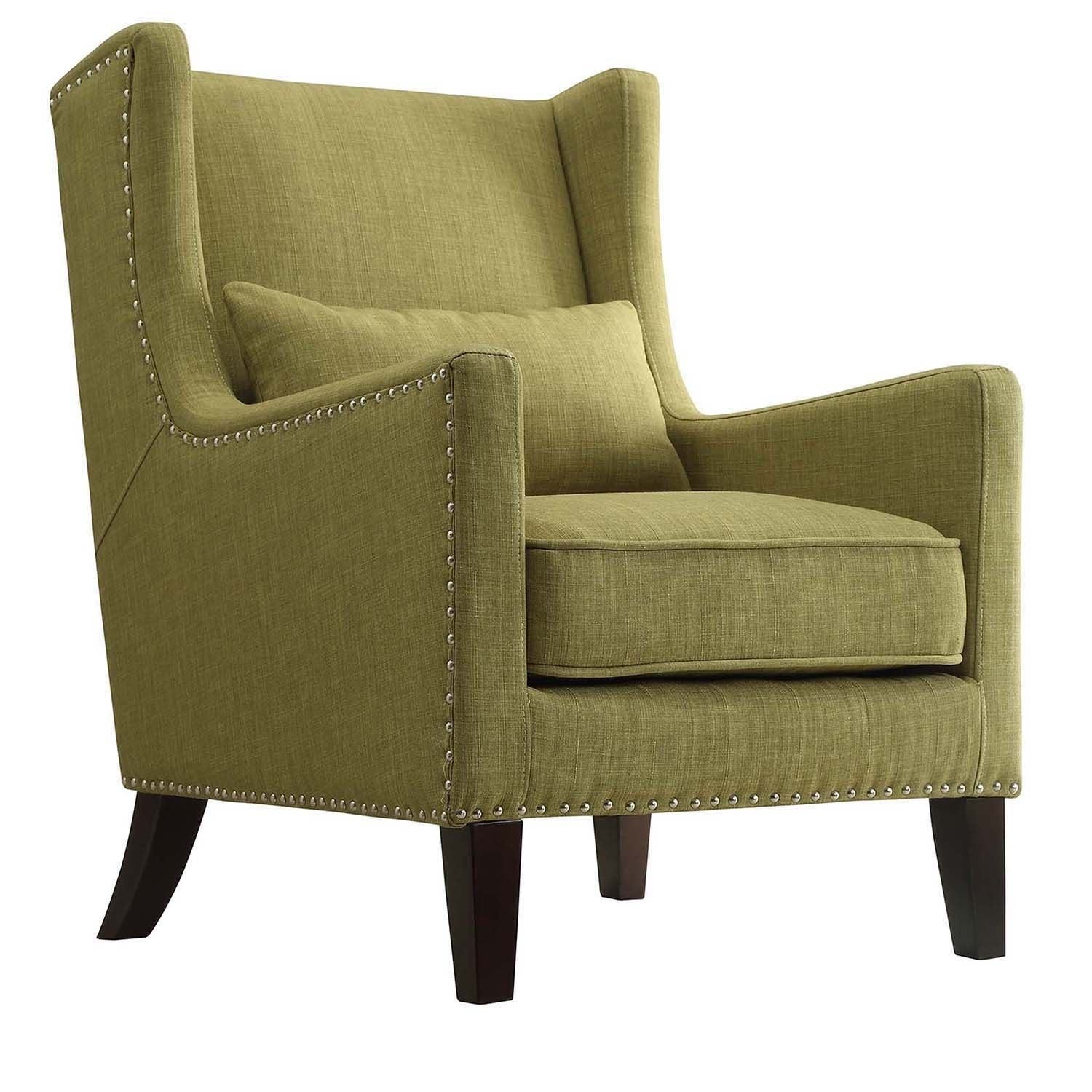 Henry Wingback Nailhead Upholstered Club Chair with Pillow by Tribecca Home  (Chartreuse), Green (Linen)