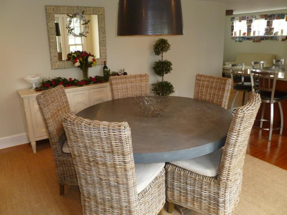 SDS Designs - Concrete Round Table with a Wood Pedestal ...
