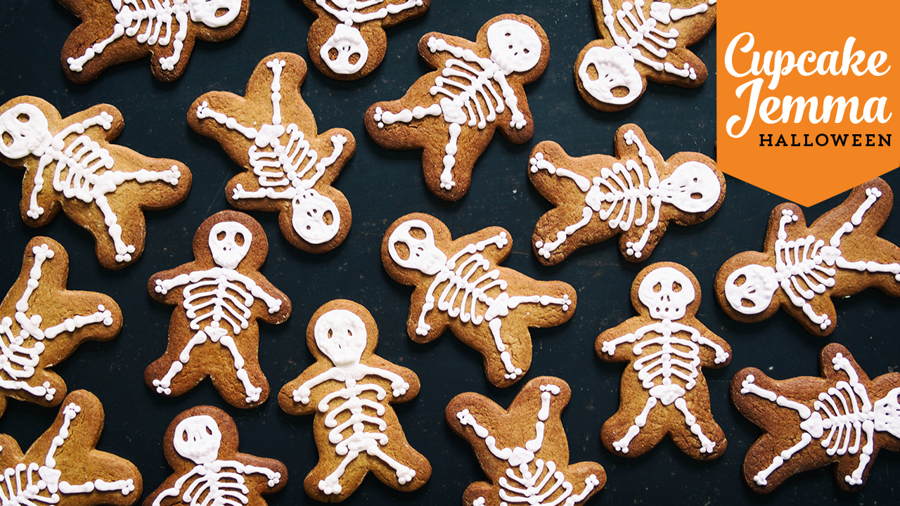 Skeleton Gingerbread Cookie Recipe Halloween Cupcake