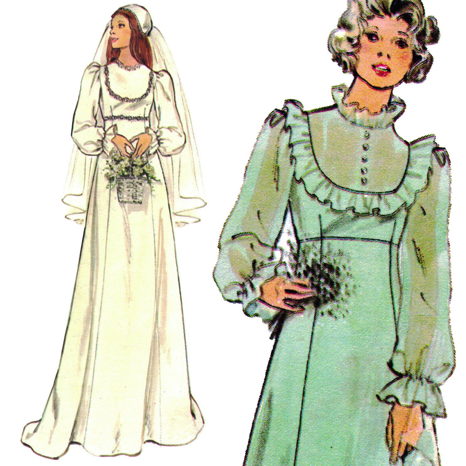 Vintage Mid70s Romantic Wedding Dress Butterick Sewing