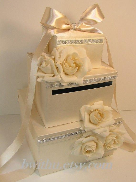 Ivory Wedding  Card Box Gift Card Box Money Box by bwithustudio, $125.00