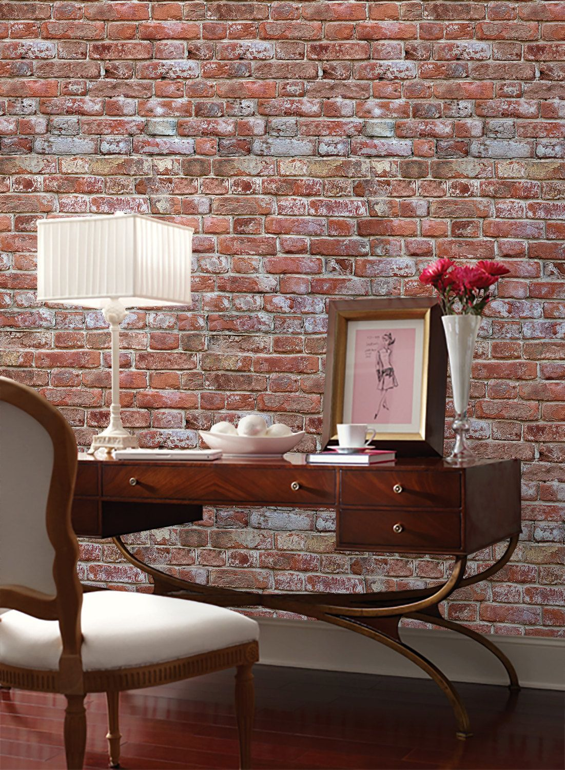 Antique Brick Peel 'n Stick or Traditional Wallpaper