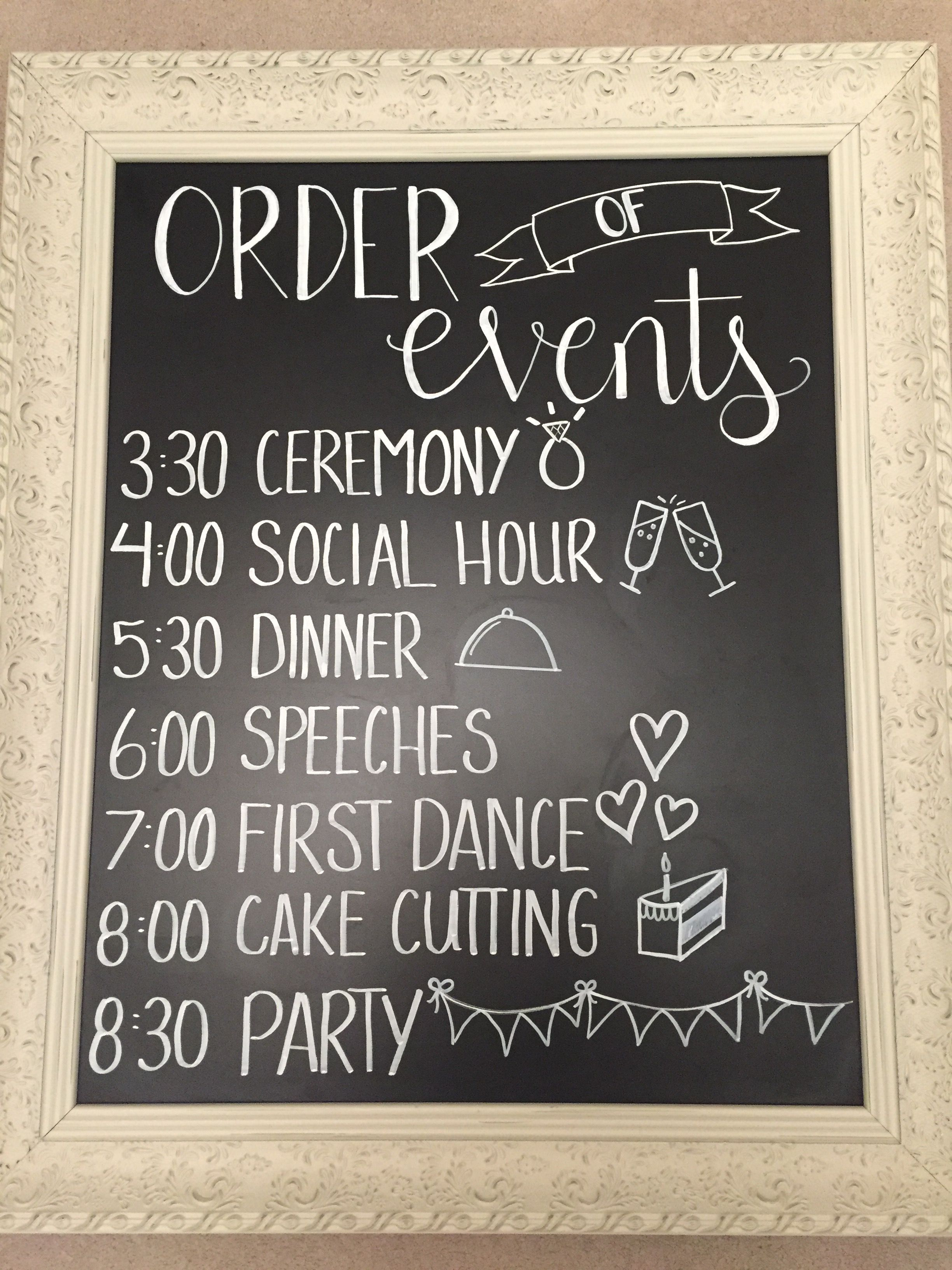 Order Of Events Sign For A Wedding Order Of Wedding Ceremony Wedding Chalkboard Signs Wedding Order Of Events