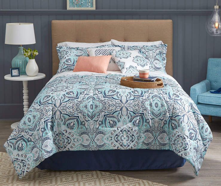 Living Colors Lucie Navy Aqua Coral King 12 Piece Comforter Set