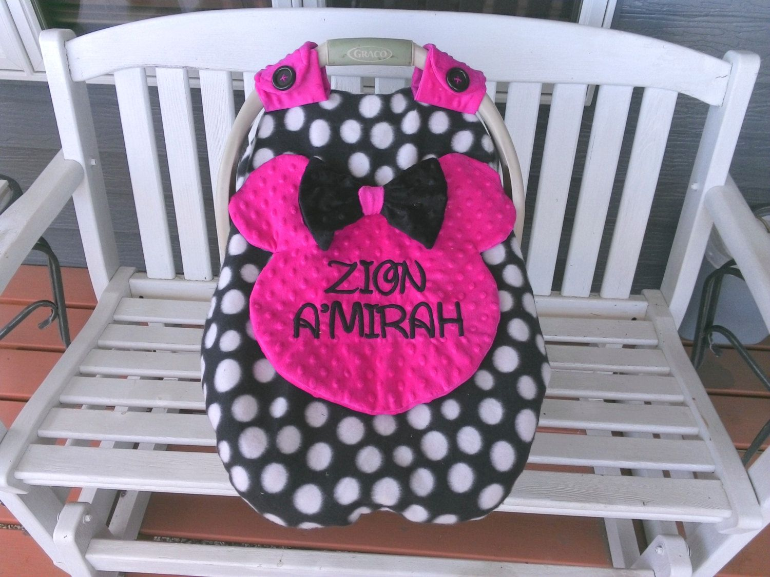 CUSTOM ORDER  Personalized With Embrodery Using Disney Like Font Minnie Mouse Canopy with Peek-A-Boo Opening, Fleece And Minky, by lindasnd on Etsy