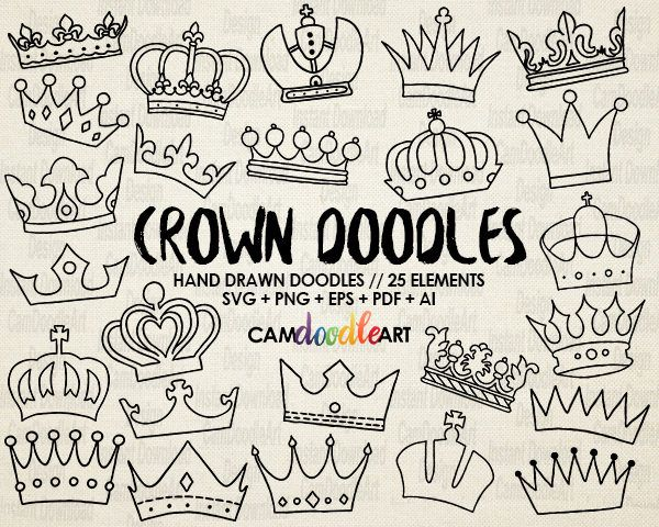 25 Doodle Crowns Vector Pack Hand Drawn Doodle Clipart Hand Etsy In 2021 How To Draw Hands Crown Drawing Doodles