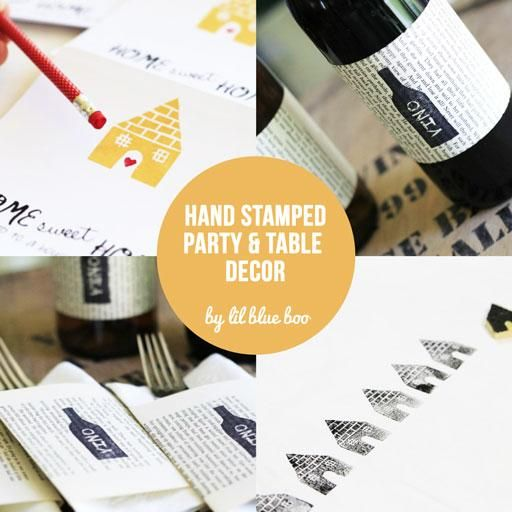 DIY Hand Stamped Party and Table Decor via lilblueboo.com #party #diy #tutorial