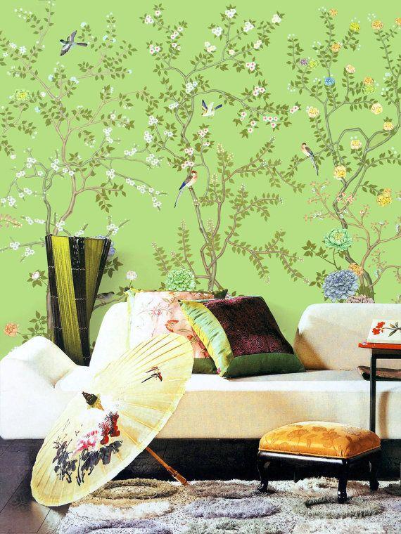 Lemon Green Chinoiserie Wallpaper Exotic Birds Trees Flowering