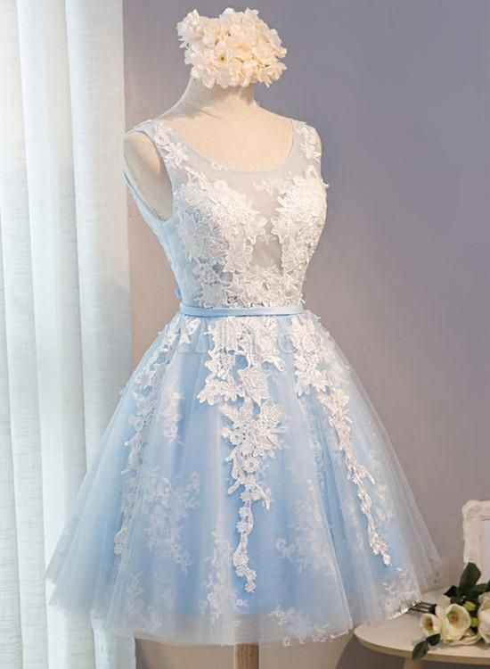 Blue Simple Tulle Homecoming Dress Lace Applique, Baby Blue Sash Backless A Line Knee Length Formal Dress #spitzeapplique