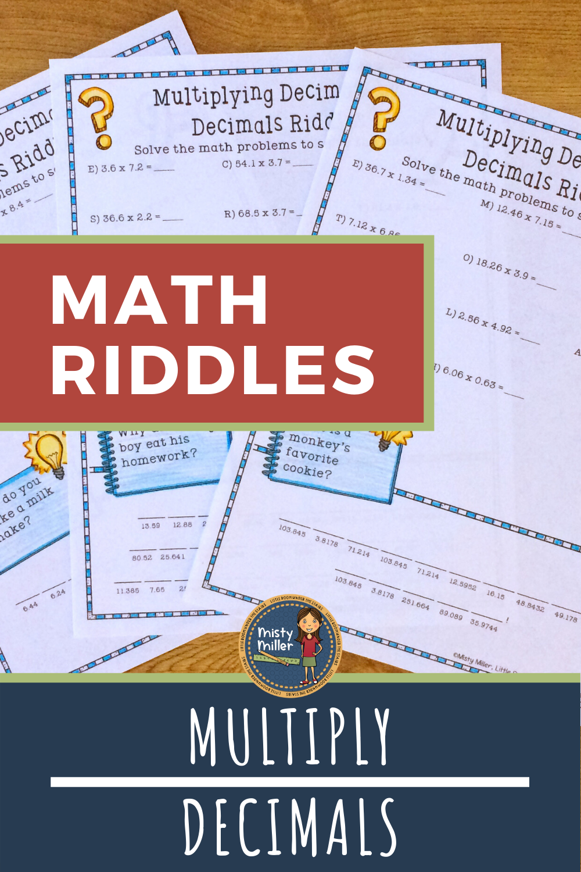 Multiply 2 Decimals Math Riddles