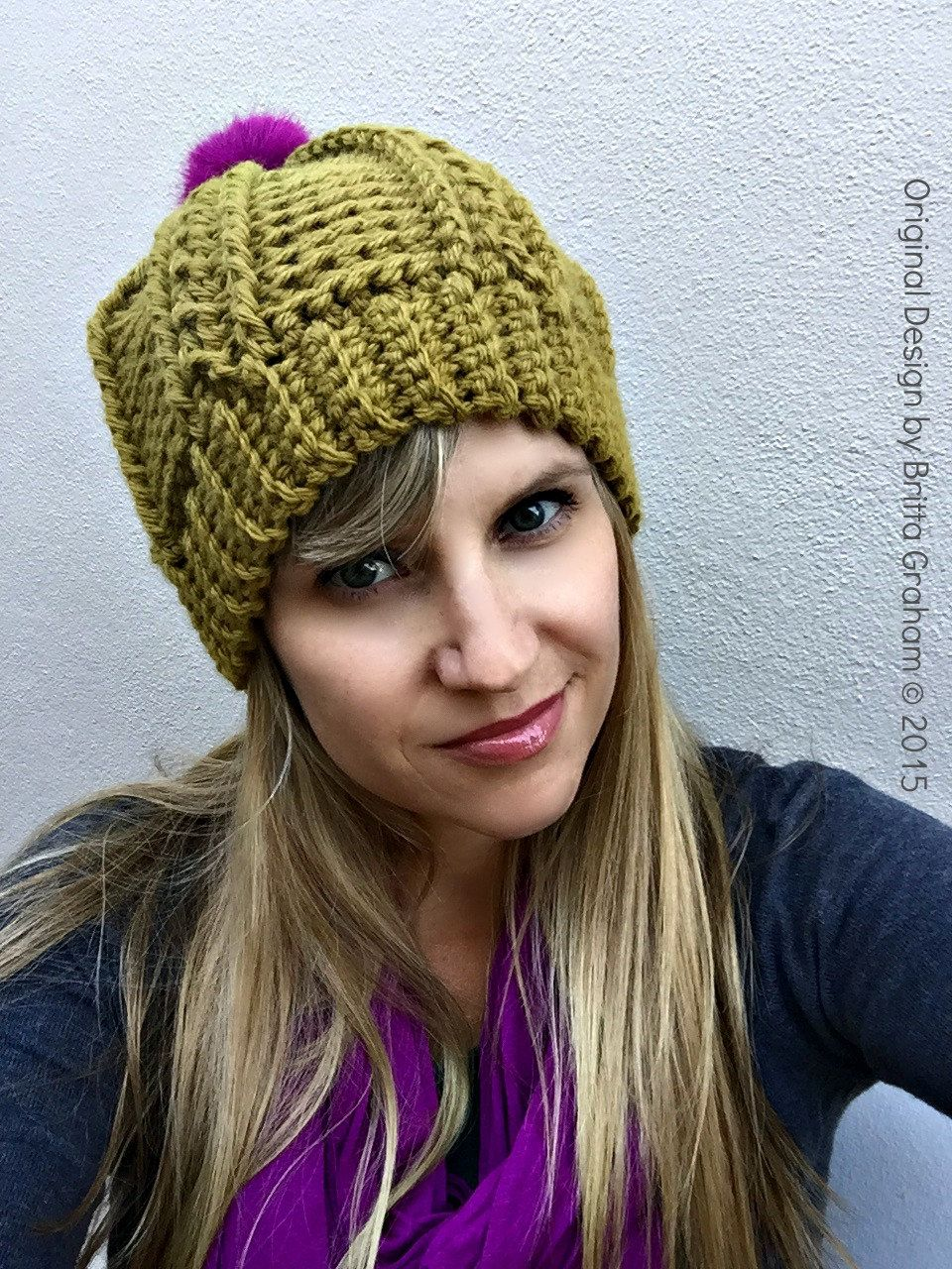 Womens Cable Beanie Crochet Pattern for chunky yarn No.250 Digital ...