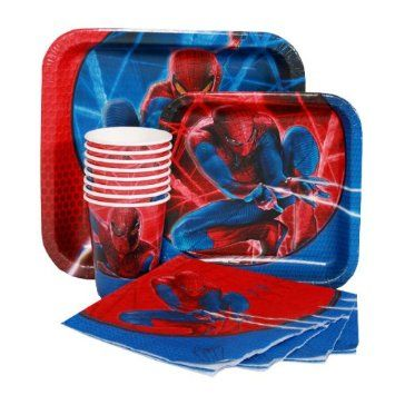 Amazon.com: 3-D Spider-Man Birthday Party Pack (Paper Plates, Napkins, Cups): Kitchen & Dining